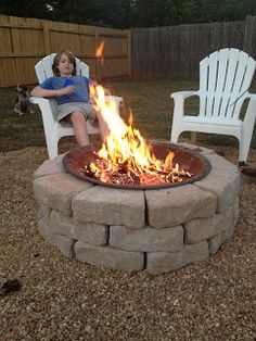 Fire Pit ideas using stones and existing metal firepit - more permanent look!