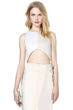 Love this whole outfit.  Neutralizer Crop Top - The perfect linen crop top for summer featuring white and nude panels and an inverted V hemline. Exposed zip closure at back, partially lined.