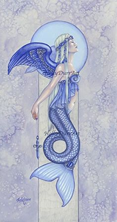 "Original Mermaid Art, Imperial Violet Cross, Colored Pencil Angel Painting. This is a original colored pencils painting. - Title: ""Imperial Violet Cross"" - Mediums: Prismacolor Colored Pencils, watercolor, and Liquitex Acrylics - Paper: Acid-free 100% Cotton Stonehenge Paper. - Size: 9"" x 17"" - Copyright 2003 and on. By purchasing art, you understand you are not purchasing rights to copyright or reproduce art in any shape or form."