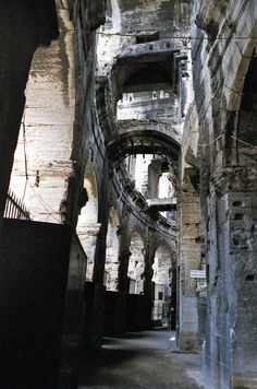 Under the arches of Arles 2,000-year-old Roman arena.