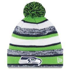 519649565eb643 Mens Seattle Seahawks New Era Green On-Field Sport Sideline Cuffed Knit Hat