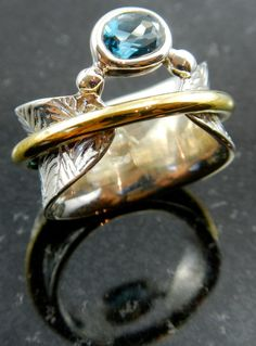 Bodhi leaf meditation ring with solitaire blue by PhantomJewellery, $120.00