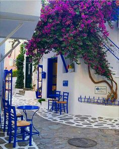 Beauty of greek streets. Mykonos, Beautiful Places To Travel, Cool Places To Visit, Places Around The World, Around The Worlds, Greek Decor, Greek Islands, Greece Travel, Garden Projects