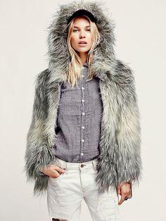 Free People Faux Fur Hooded Coat, $348.00