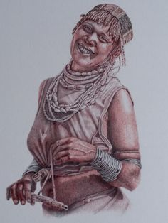 Ball point pen drawing of a Hamer woman. Painting & Drawing, Paintings, Ink, Statue, Woman, Drawings, Painting Art, Painting, Paint