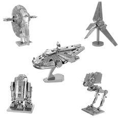 손가락 록 스타 워즈 3d 금속 퍼즐 조립 diy r2d2 넥타이 xwing 전투기 밀레니엄 팔콘 모델 장난감 새해 선물