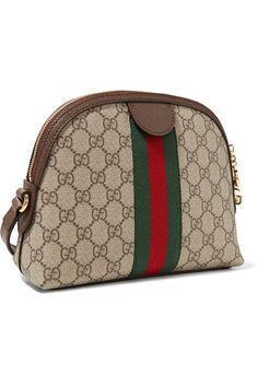 Beige and dark-brown coated-canvas, green and red canvas, dark-brown leather (Calf) Two-way zip fastening along top Comes with dust bag Weighs approximately Made in Italy Gucci Coat, Gucci Loafers, Canvas Shoulder Bag, Dark Brown Leather, Zip Around Wallet, Vintage Fashion, Prints, Red, Bags