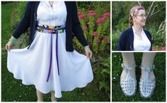 Frock on Friday - Friday 14th March: polyester dress with circle skirt, from Toffs; Elvis obi, Made by Me; with thrifted cardigan and retail silver plastic shoes