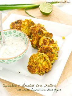 Zucchini Roasted Corn Fritters with Jalapeno Lime Greek Yogurt | flavorthemoments.com
