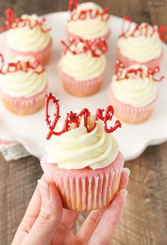 Strawberry Cupcakes with Cream Cheese Frosting - the love toppers make them the perfect treat for Valentine's Day! day cupcakes Strawberry Cupcakes with Cream Cheese: Tasty & Pretty Too! Valentine Desserts, Valentine Day Cupcakes, Valentines Food, Cupcake Birthday, Easter Cupcakes, Christmas Cupcakes, Cupcake Cream, Cupcakes With Cream Cheese Frosting, Love Cupcakes