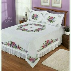 Discover thousands of images about Pansies - Stamped Cross Stitch Quilt Bedding, Linen Bedding, Bedding Sets, Queen Bed Quilts, Queen Beds, Bed Cover Design, Designer Bed Sheets, Crochet Bedspread, Cross Stitch Flowers
