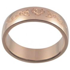 Celtic Flaming Heart 18K Rose Gold Plated Stainless Steel Ring