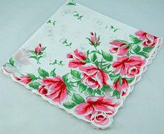 #bride fab vintage #handkerchief white w/pink roses!