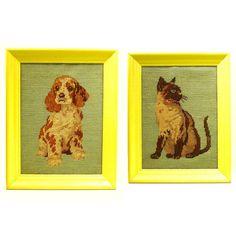 cat and dog portraits animal wall art needlepoint by nashpop, $42.00