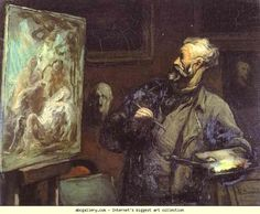 Honore Daumier. The Artist. c.1868-70. Oil on wood. Musée des Beaux-Arts, Reims, France.