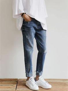 denim and stan smiths | sneakers | white | HarperandHarley