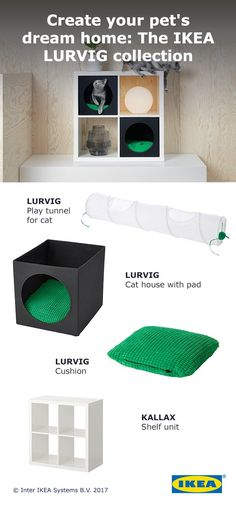 Keep your cat cozy and comfortable with the new IKEA LURVIG collection. Our pet essentials create a cozy hideaway for cats to snooze. The LURVIG cat house, tunnel, and cushion fit into KALLAX shelf units or stand alone.