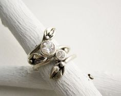 Set of 2 Rings, Silver Leaf Ring with 5mm & 3mm White Topaz, Engagement Rings on Etsy, $139.00
