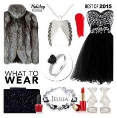 """""""Jeulia Jewelry - Black Elegance"""" by smasy ❤ liked on Polyvore featuring N.Peal, Sergio Rossi, NARS Cosmetics, Estée Lauder, OPI and jeulia"""