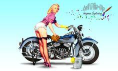 Art Pin-Up | Chica lavando la moto - Imágenes Para Compartir SaGiTaRioXP