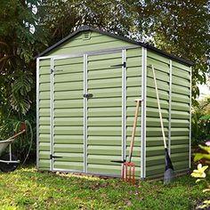6x5 Plastic Garden Shed ♦ Skylight Storage Sheds ♦ Palram Green Building ♦