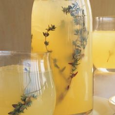 Vodka-Thyme Lemonade: 2 oz. Crystal Head Vodka 2 oz. granulated sugar 4 oz. lemon juice fresh thyme