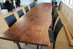 Custom Walnut Slab Conference Table by Iota Woodworks | CustomMade.com