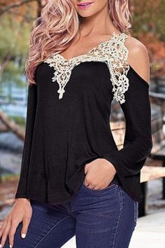 Sweet V-Neck Laced Long Sleeve T-Shirt For Women T-Shirts | RoseGal.com Mobile