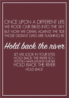 James Bay  Hold Back the River  A4 Song Lyric Poster Print Art. Various Colours.
