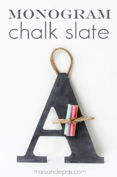 An easy craft project, back-to-school gift, or DIY decoration for your child's homework station, this Monogram Chalk Slate is a cute way to dress up any wall. Whether it's for at home, in the classroom, or to spruce up a school locker, this is a great homemade gift to give your child.