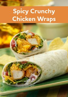 Looking for a new after school snack? These Spicy Crunchy Chicken Wraps are easy to make and eat on the go!