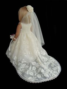 American Girl Doll Clothes Traditional Wedding Gown Dress Ivory SewSoNancy Boutique