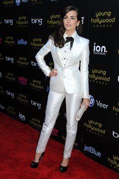 White silk suit
