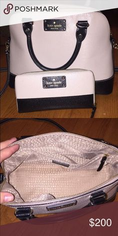 Kate Spade wallet and purse Authentic wallet and purse. Crossbody strap is removable. Black and cream colored. No stains/rips/tears kate spade Bags Crossbody Bags