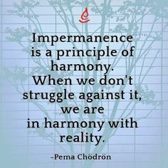 Impermanence is a principle of harmony......