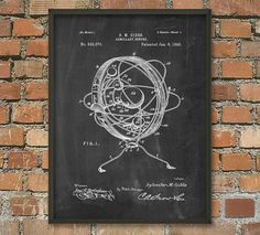 Armillary Sphere Patent Wall Art Poster by QuantumPrints on Etsy