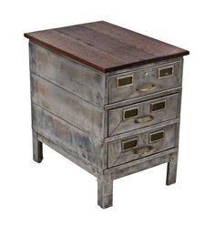 modified c. 1930's antique american industrial stationary cold-rolled steel 3-drawer factory office filing cabinet with newly added mahogany wood top