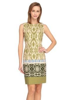 Tahari ASL  Printed Linen Sheath Dress