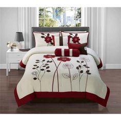 Victoria Classics Adrienne 7 Piece Queen Comforter Set in Red