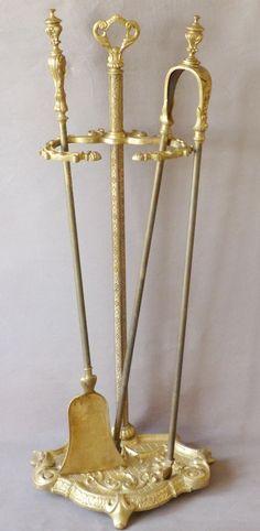 Serviteur De Cheminée Napoléon III, Avec Pelle Et Pince, Bronze Et Laiton, XIX ème