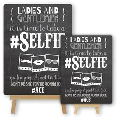 Vintage Chalkboard Style Metal Selfie Photo Booth Sign & Easel for Wedding Props