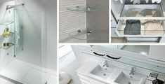 Get inspired with these unique glass shelf design ideas from floating glass shelves with built-in bookends to custom size wall niche shelving. Glass Shelves In Bathroom, Floating Glass Shelves, Window Shelves, Wall Mounted Shelves, How To Clean Furniture, Find Furniture, Used Furniture Stores, Glass Shelf Supports