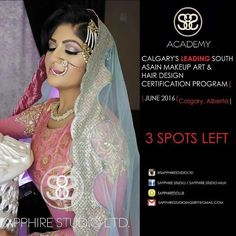 There are only 3 spots left for our June 2016 Certification Program.  Are you an aspiring makeup artist? Want to establish your own business? Take the first step in pursuing your dreams and become a successful professional makeup and hair artist. Don't miss your chance to Register into Calgary's #1 South Asian Makeup Art and Hair Design Certification Program for ||JUNE 2016|| Each student will receive a full hair and makeup industry kit valued over $2000.00 which will include professional…
