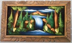Mid Century Framed Unsigned Black Velvet Painting Landscape of Waterfall, Pines and ... Volcano ($20)