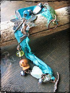Sea-nymph bracelet, Sari silk ribbon Brass fairy stamping Roman glass Artisan bronze Lampwork glass - Ariel's Song