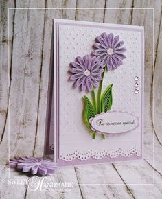 Quilling Mauve Flowers card http://sweetiehandmade.blogspot.ro