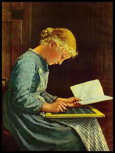 "Vintage 1951 ""Reading and Writing'"" School Girl Art Print by Albert Anker"