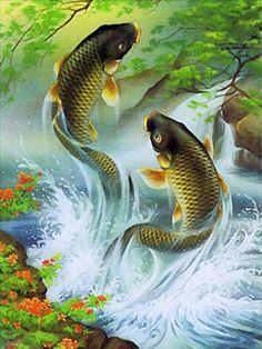 Koi Art, Fish Art, Koi Kunst, Koi Fish Tattoo, Traditional Japanese Art, Mosaic Pictures, Art Pictures, Japanese Koi, Art Japonais