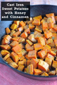 Cast Iron Sweet Potatoes with Honey and Cinnamon Recipe- peeled sweet potatoes tossed in sticky honey and sweet cinnamon, baked with a golden crust in cast iron. Cast Iron Skillet Cooking, Iron Skillet Recipes, Cast Iron Recipes, Skillet Meals, Sweet Potato Cinnamon, Honey And Cinnamon, Sweet Potato Recipes, Best Steak Seasoning, Cooking Recipes