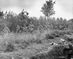 Market Garden day 11.  American paratroopers landed in the rear of the German troops in the Netherlands. In the background is an airdropped Jeep  on 17th September 1944